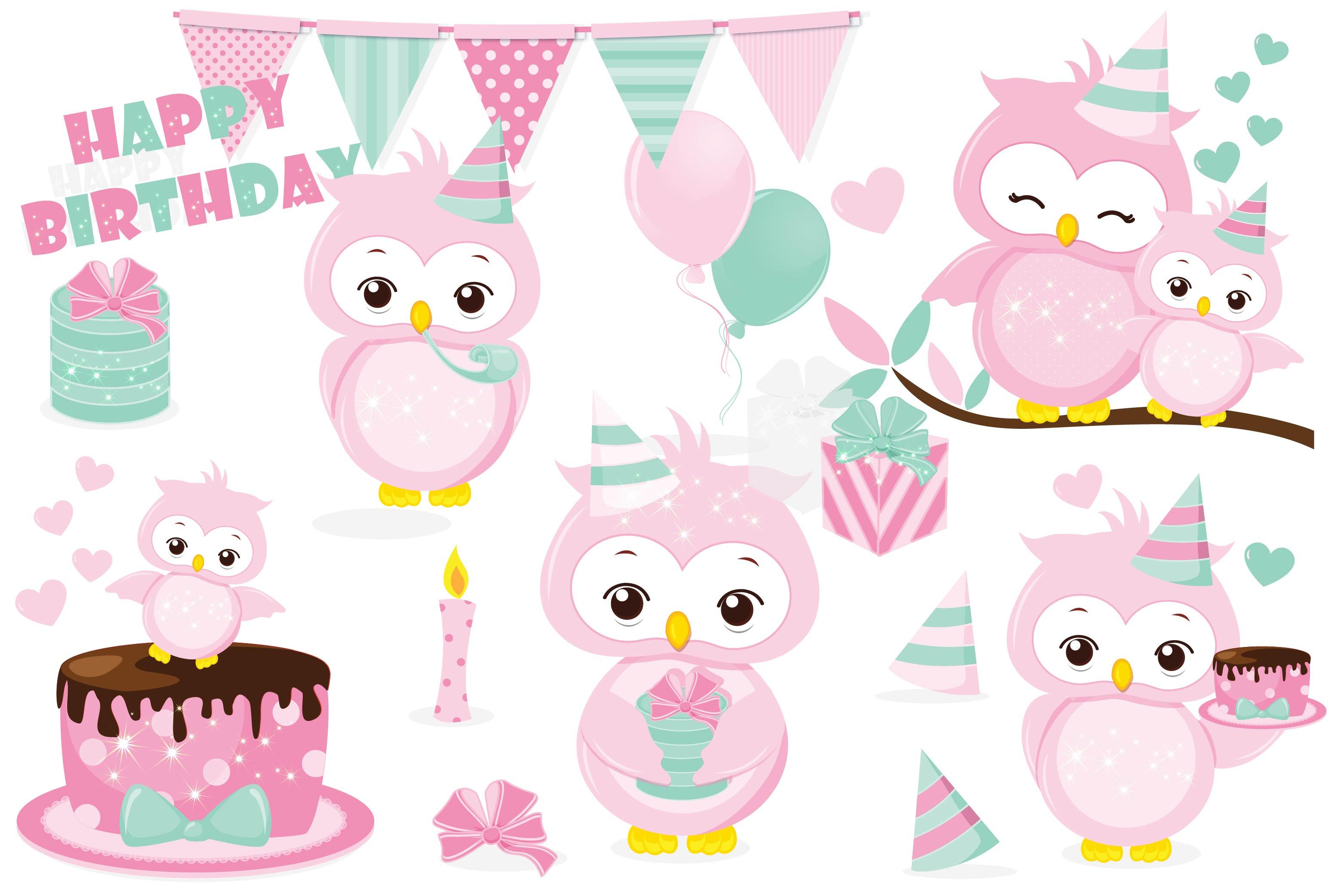 Birthday owl clipart, Birthday owl graphics.