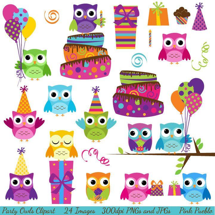 Party Owls Clipart Clip Art, Birthday Owls Clipart Clip Art.