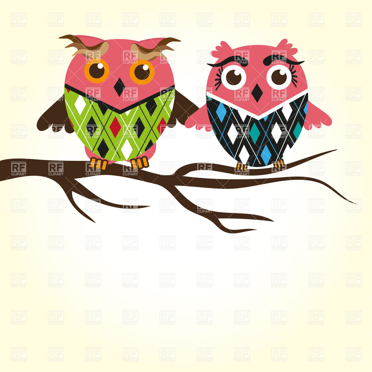 Owl On Branch Clip Art.