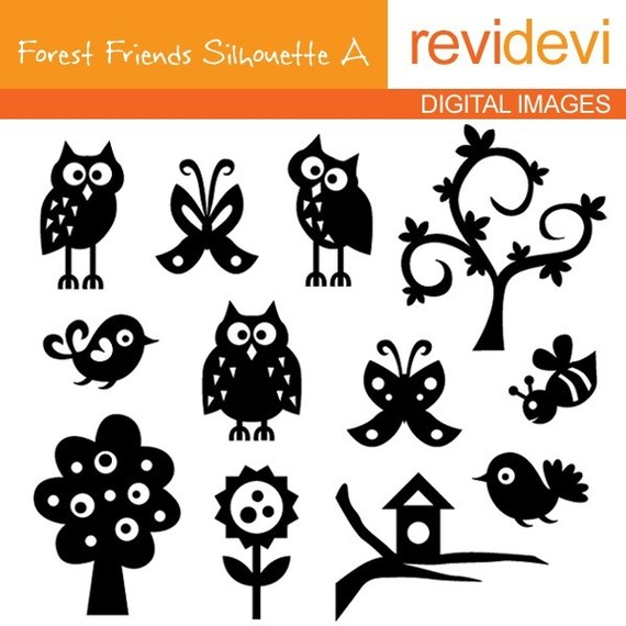 Items similar to Owls, butterflies, trees / silhouette clipart.