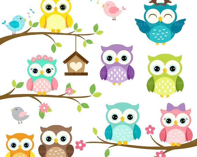 Owls Clipart \'CUTE OWL CLIPART\' Digital Owls Clipart..