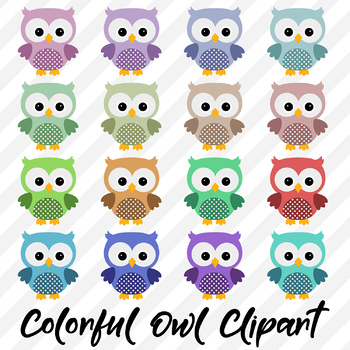 Owl Clipart, Colorful Cute Owls.