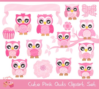 Cute Pink Owls Clipart.