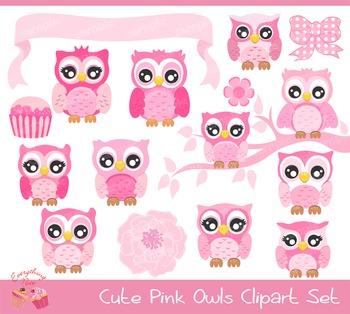 Cute Pink Owls Clipart.