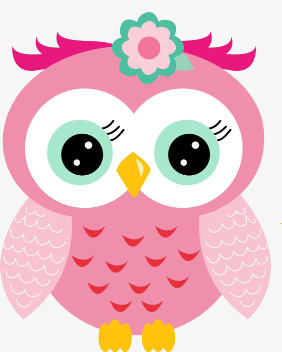 Cute Pink Owl Clipart.