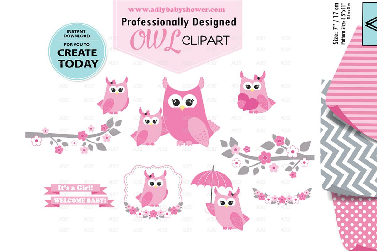 Pink Owl Clip Art, Mommy and Baby,owls clipart digital image.