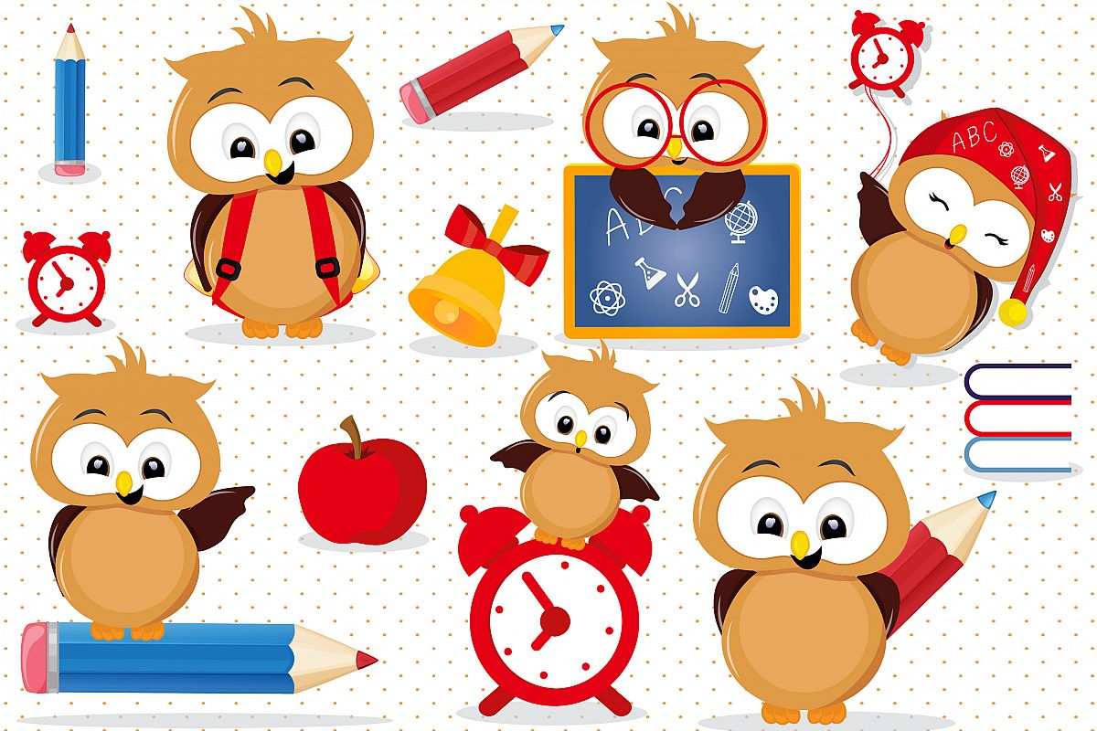 Back to school Owls clipart, Back to school Owls graphics.