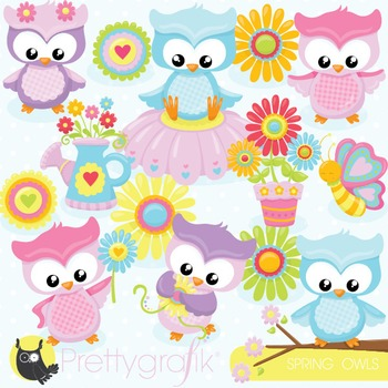 Spring owl clipart commercial use, vector graphics, digital.