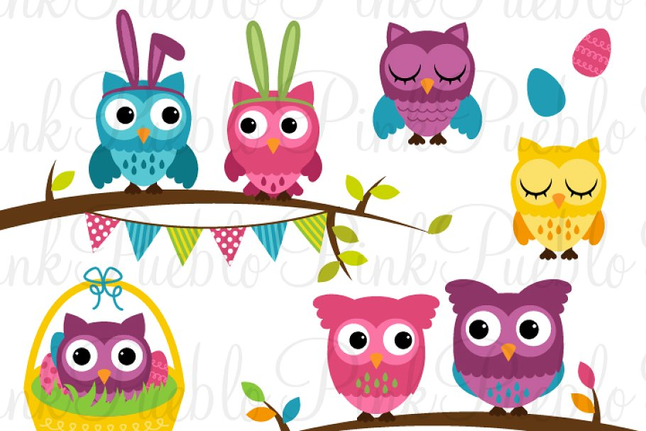 Spring Easter Owl Clipart & Vectors.
