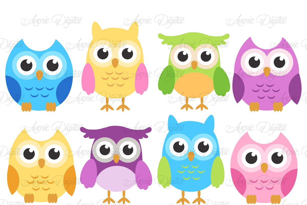 Colorful Owls.