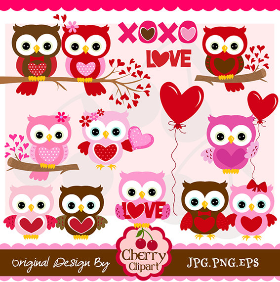 Valentine's Day Sweet Owls digital clipart set.