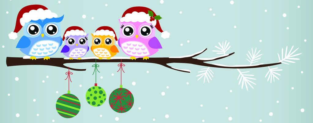Christmas Owl Family.