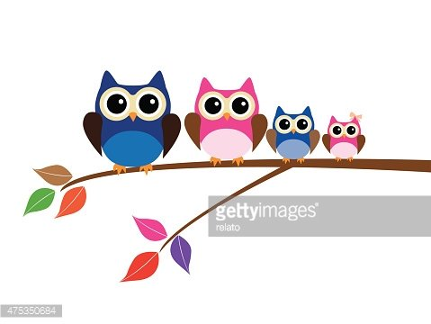 Owl Family Clipart Image.