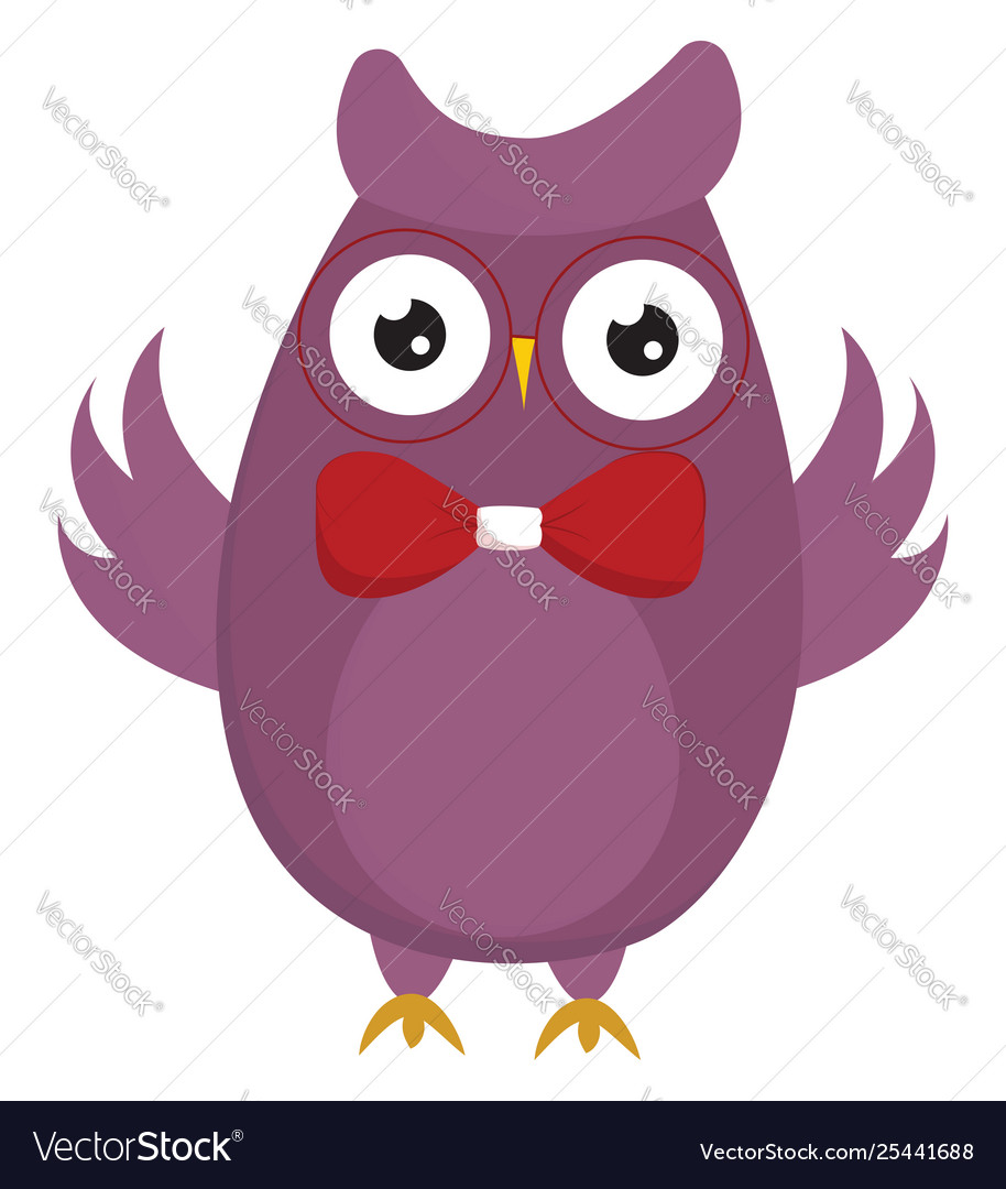 Clipart a cute little owl in a red bowtie.