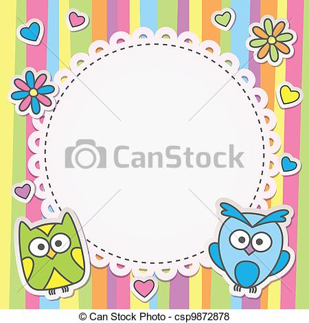 Vector of frame with owls.