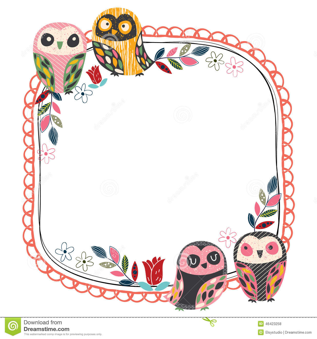 Vintage Owl Frame Layout 4 Stock Vector.