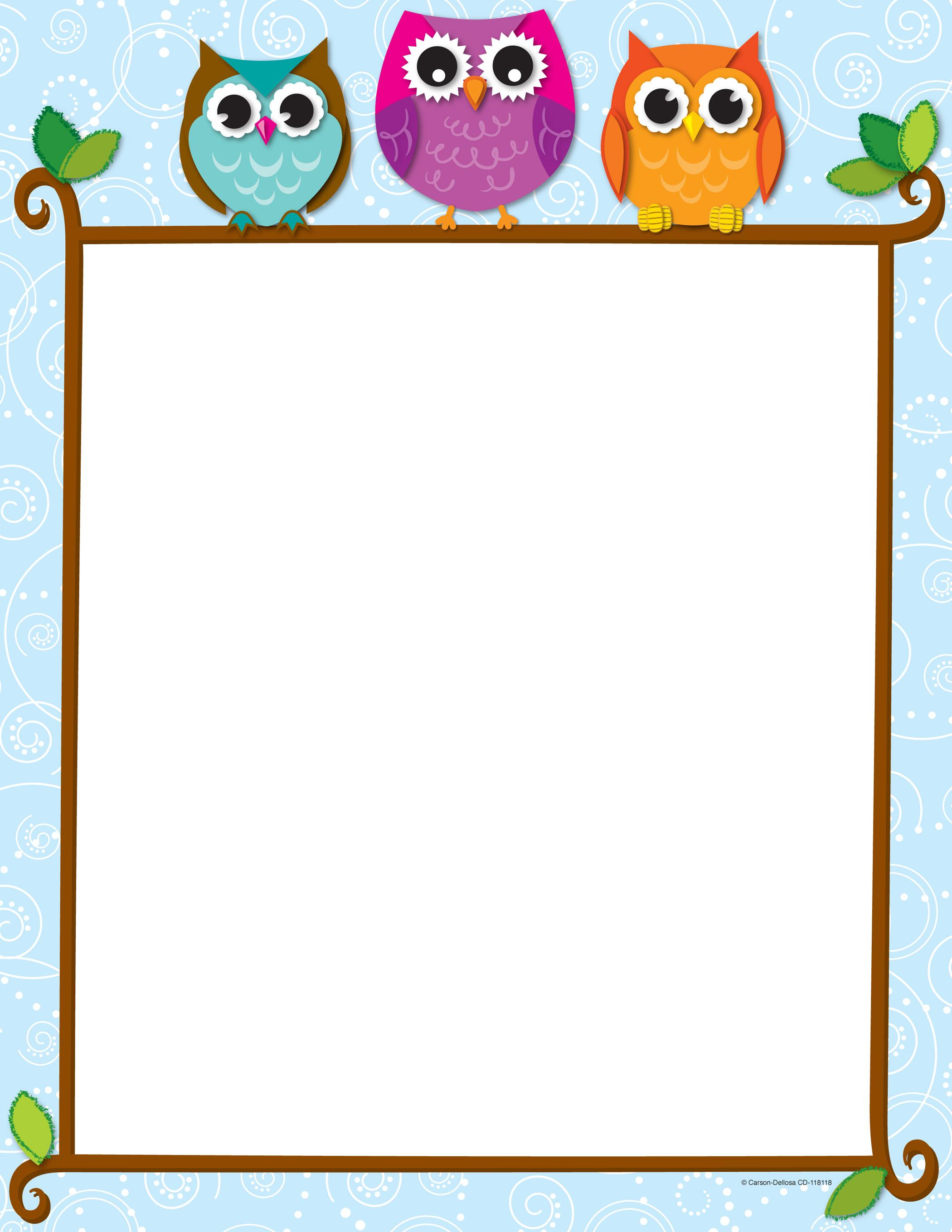 Page border with colorful owls on a tree limb and a nighttime sky.