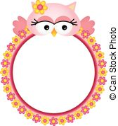 Vector of Frame with cute owl and flowers csp14250080.