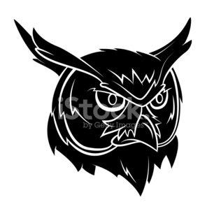 Owl Head Tattoo Clipart Image.
