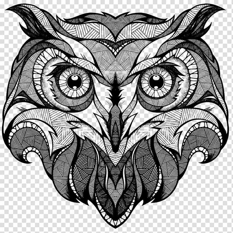 Owl face , Owl Drawing Coloring book Totem Illustration.