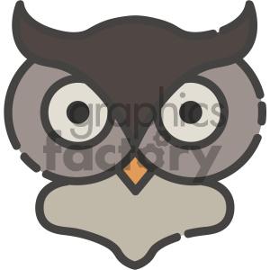 owl head vector art clipart. Royalty.