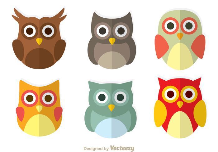 Cute Owl Flat Icons.