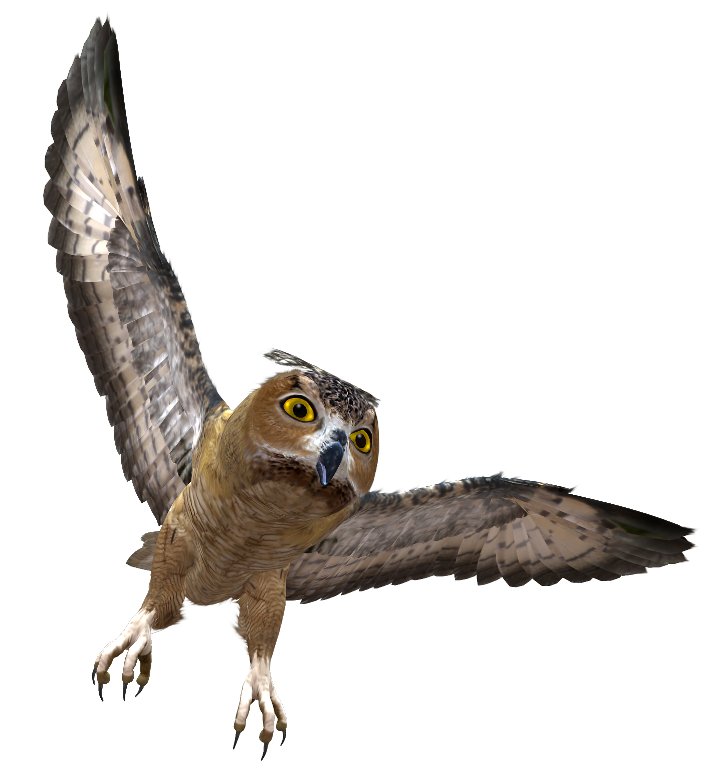 Owl in Flight PNG Clipart.