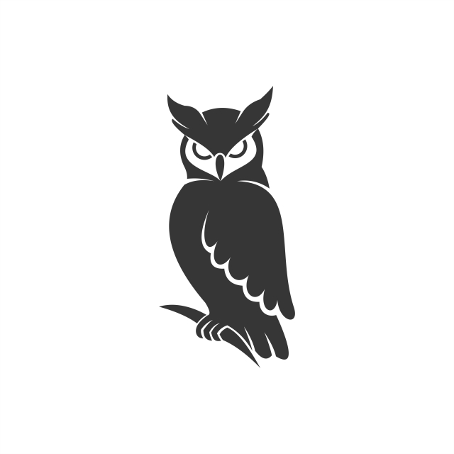 Owl Logo Vector Black, Abstract, Animal, Background PNG and.