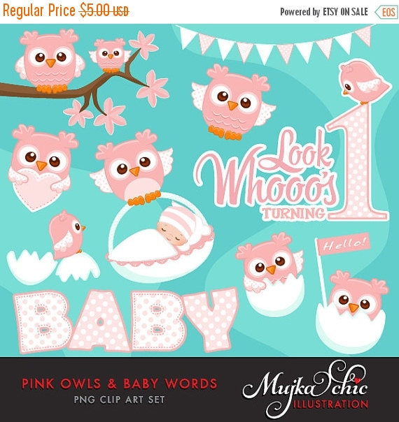 Pink Owls Clipart with Baby Wording. Cute Baby owls, new baby.