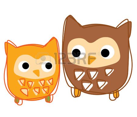 A Young Owl Look At His Father Vector Royalty Free Cliparts.