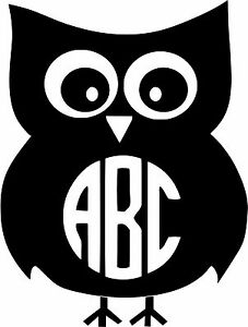 Details about Custom Owl Monogram personalized Initials vinyl decal U Pick  Size & Color.