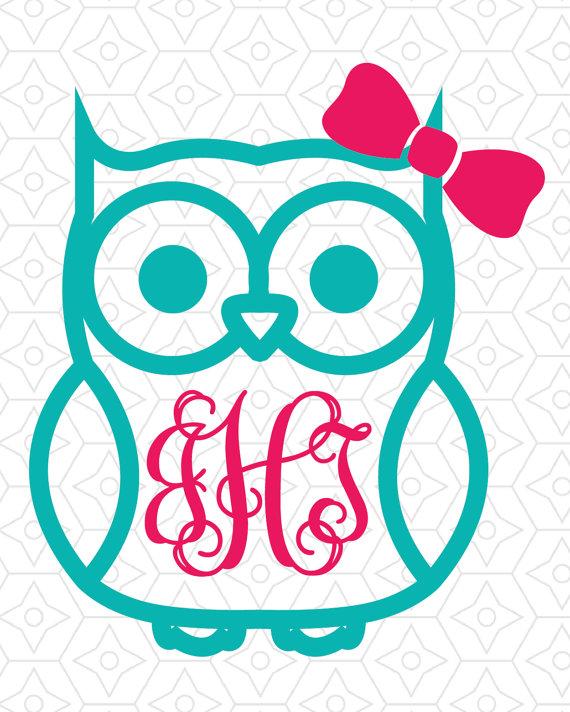 Owl Monogram Clipart.