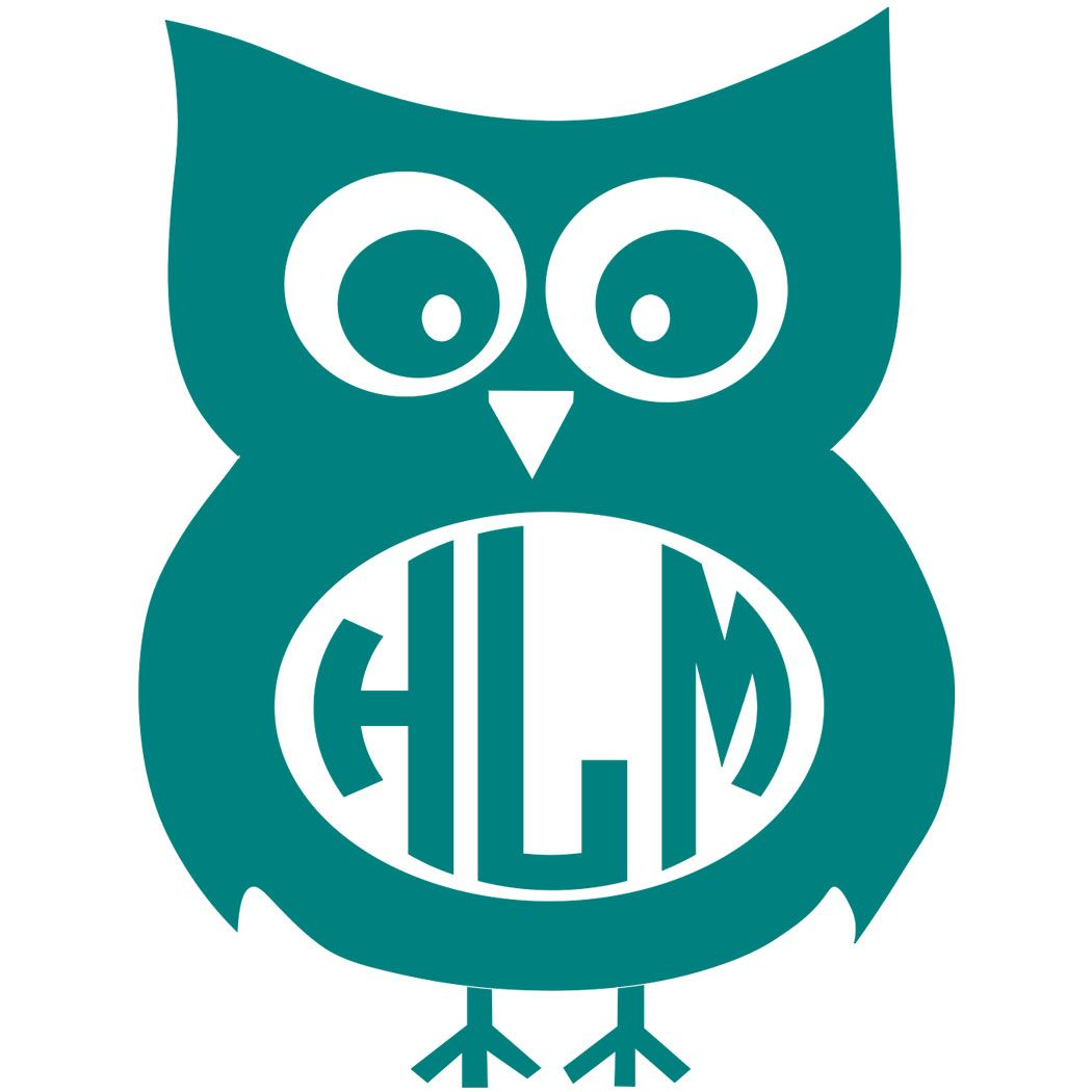 Owl Monogram Decal with Circle Font.