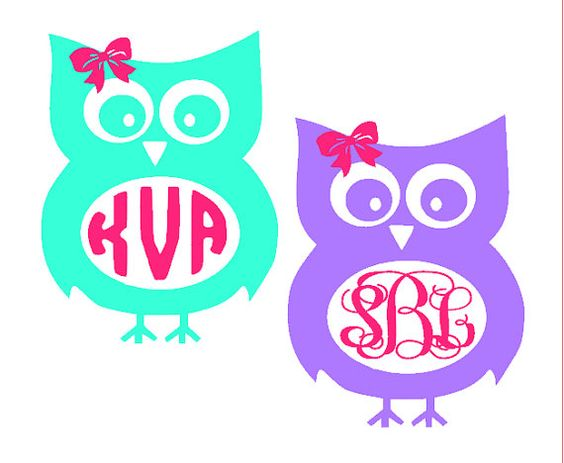 Owl with Bow Monogram Decal.