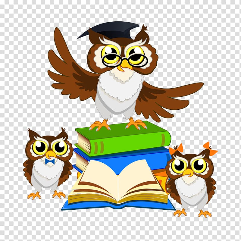 Owls and books , Owl , A lecture Owl transparent background.