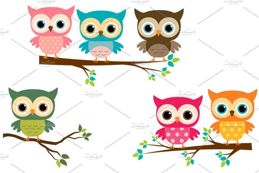 Cute owls with branches clip art.