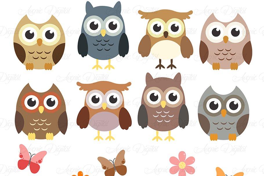 Woodland Owls Clipart and Vectors.