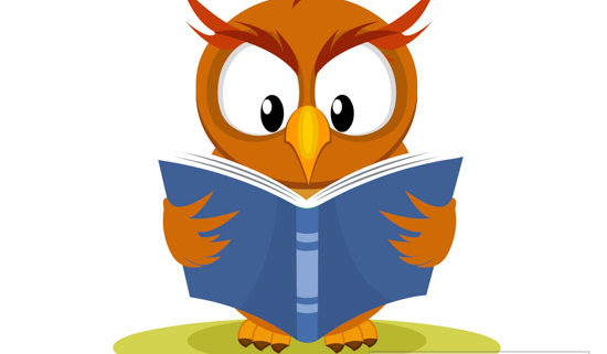 owl reading book clipart.