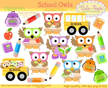 School Owls Clipart Back to School Clipart Bus Student Teacher Backpack  Clip Art.