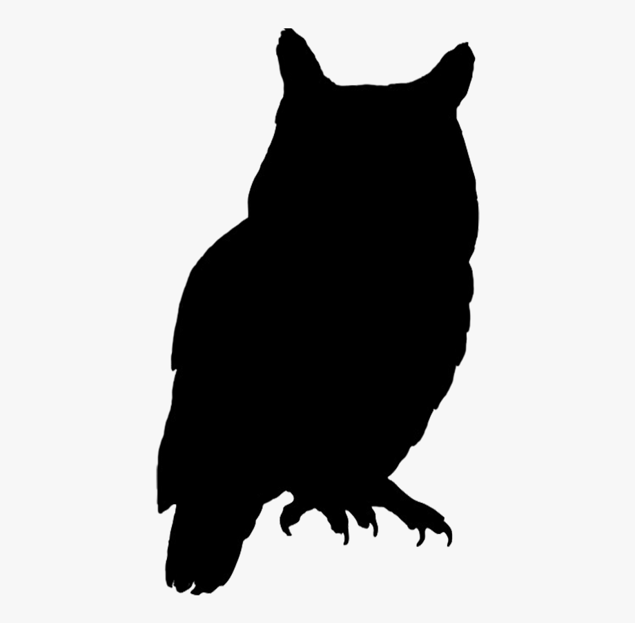 Silhouette Of Bubo Black White.