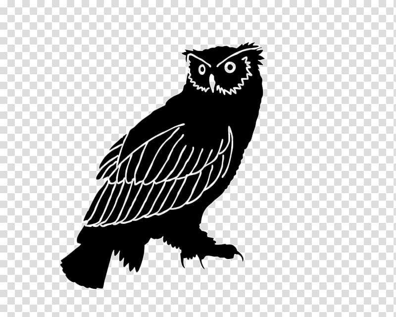 Owl Silhouette Bird Black and white , owl transparent.