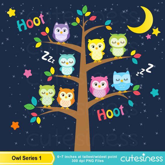 Owl Digital Clipart , Owl Clipart, Sleeping Owl Clipart.