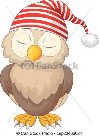Vector Illustration of Cartoon owl sleeping.