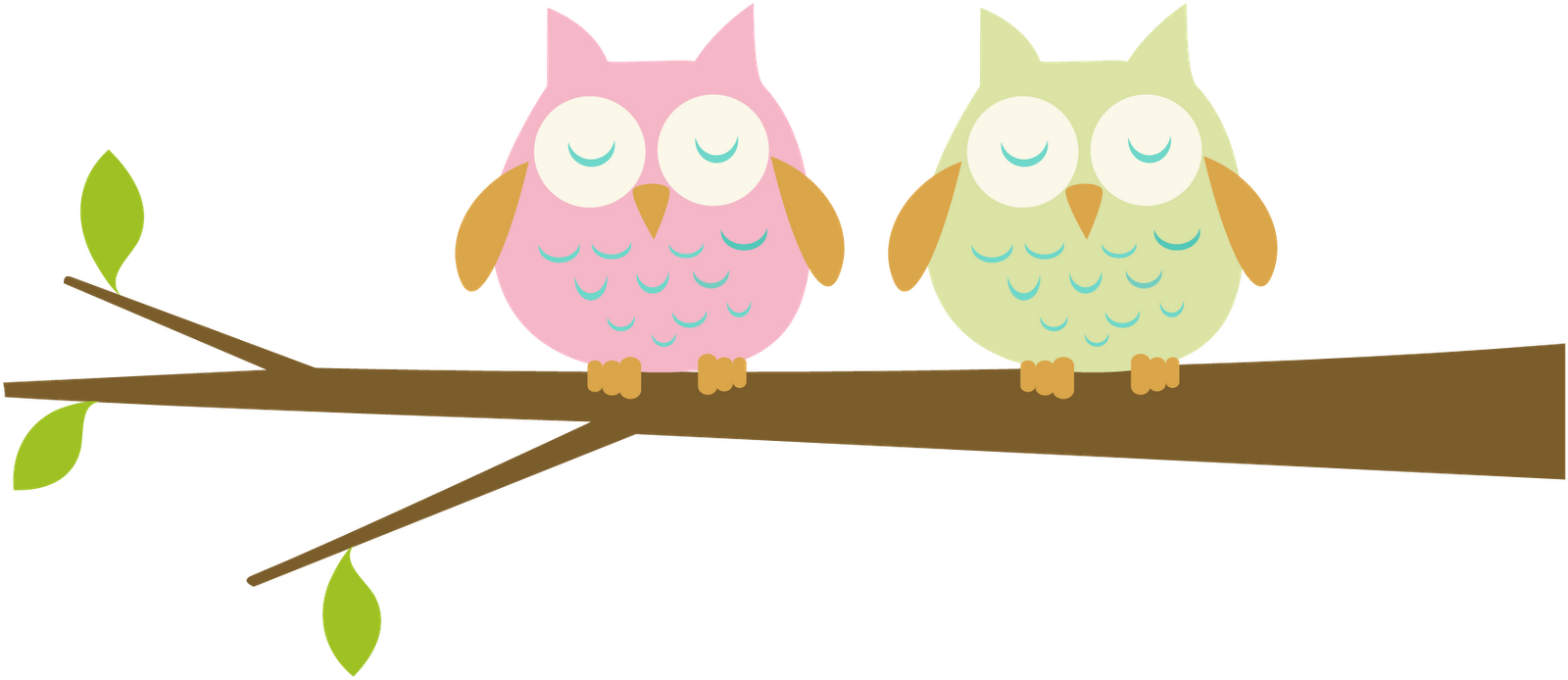 Pink Owl Sleeping Baby Clipart.