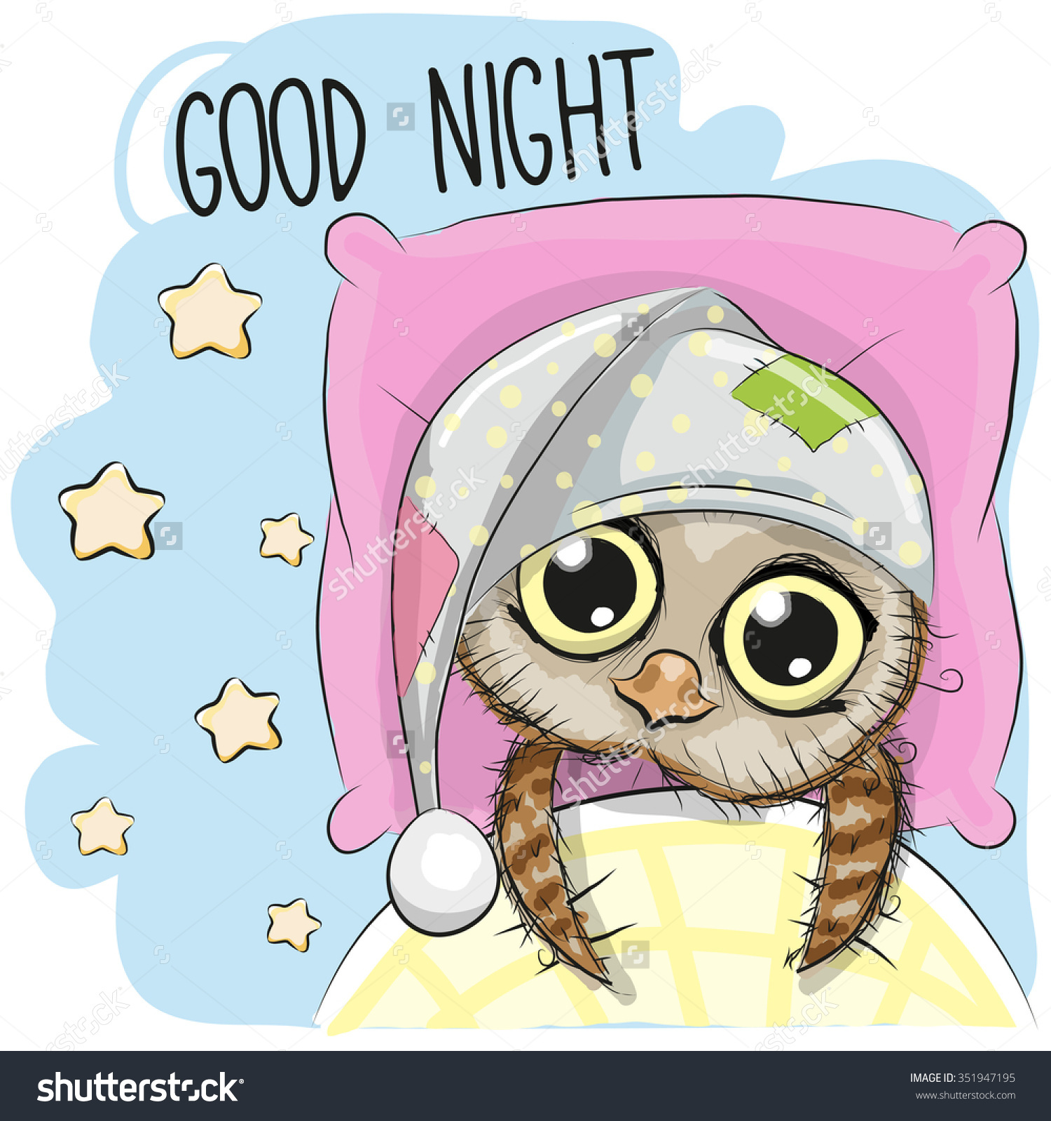 Cute Cartoon Sleeping Owl Hood Bed Stock Vector 351947195.