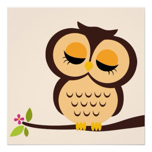 Owl sleeping clipart.