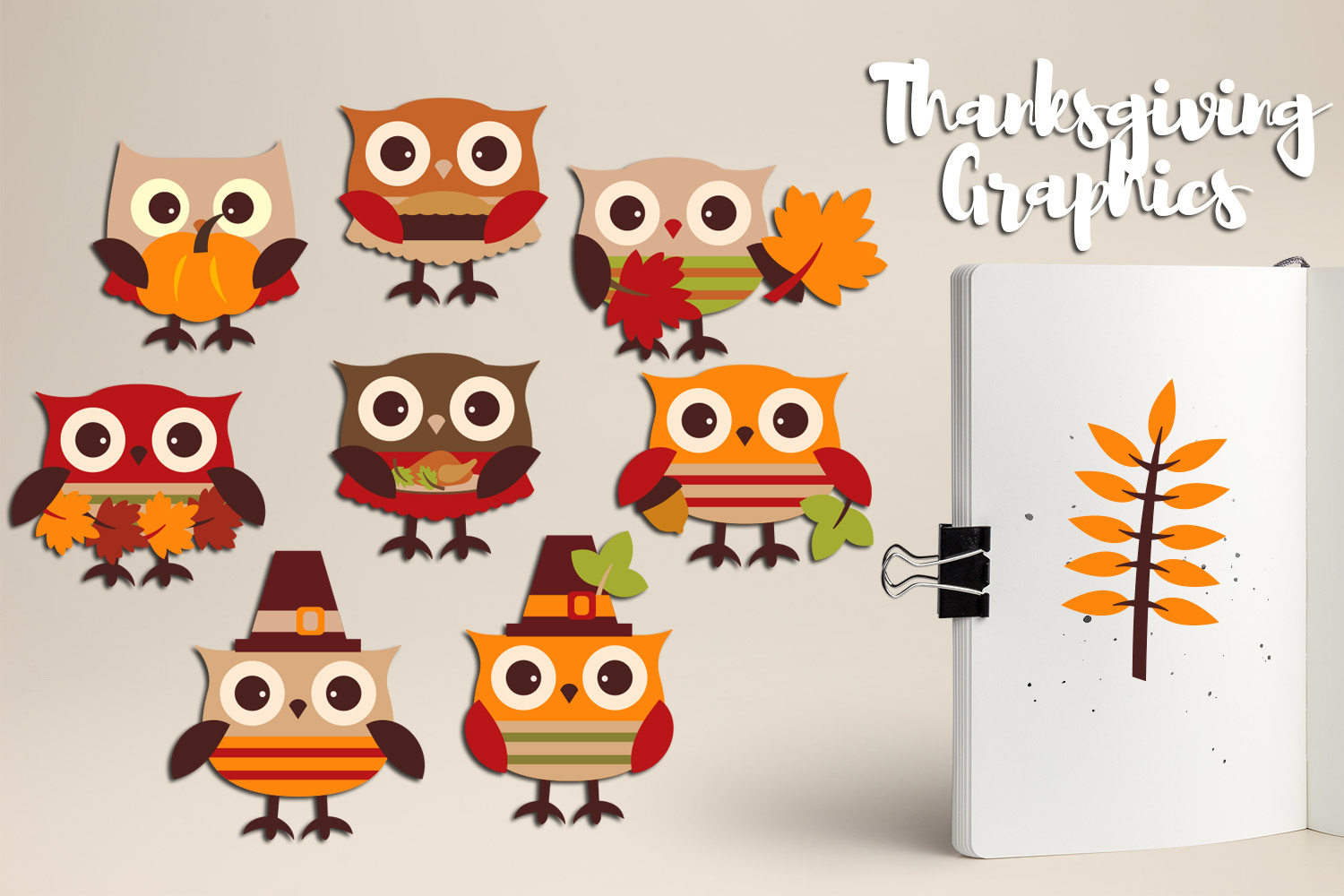 Cute Owl Thanksgiving Clipart Graphics.