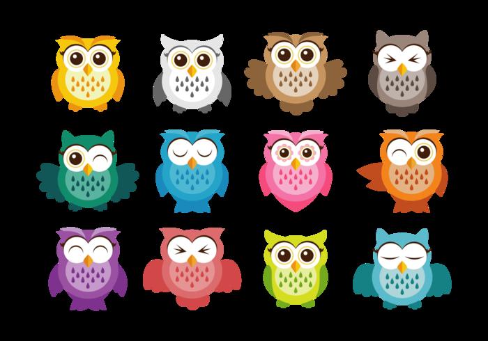 Cute Owl Vector Icons.