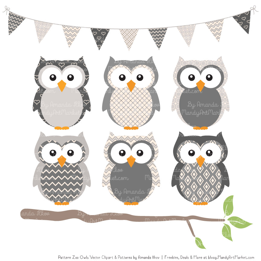 Grey Patterned Owl Clipart & Patterns.
