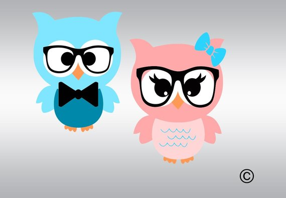 Baby Owl bird with glasses clipart svg, Owl with bow svg.